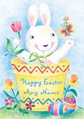 Add A Name Easter-Bunny In A Flowerpot